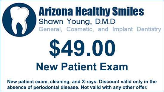 Dental Coupon: $49 new patient exam, cleaning, and X-rays. Discount valid only in the absence of periodontal disease at Arizona Healthy Smiles in Tempe, AZ